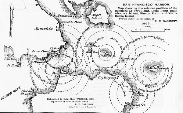 historic map showing San Francisco harbor and gun range rings around military posts