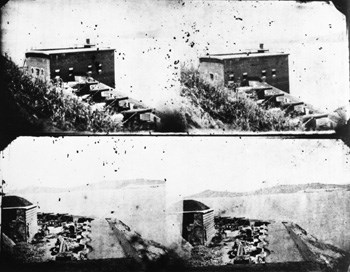 black & white contact sheet showing double images of Alcatraz views