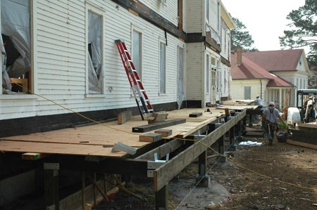 porch foundation work at Fort Baker barracks building