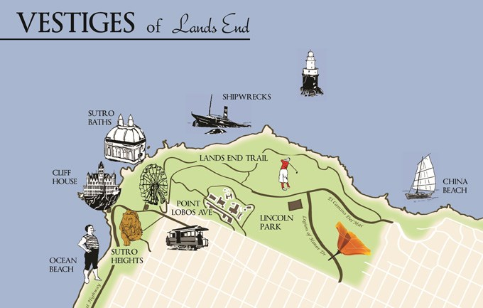 colored map of Lands End with illustrations for different regions