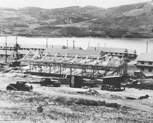 photo of Fort Cronkhite barracks under construction