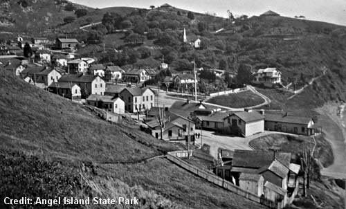 Early photo of Camp Reynolds on Angel Island, San Francisco Bay.