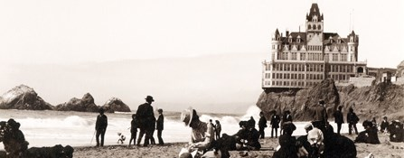 historic photo of bathers on Ocean Beach with Cliff House in background