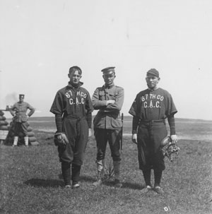 Fort Baker soldiers from the Coast Artillery Corps playing baseball