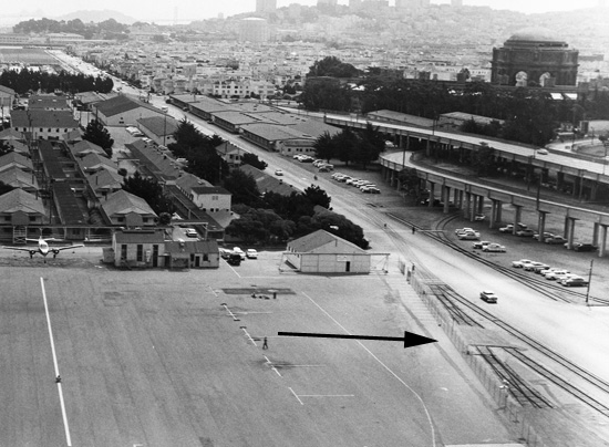 historic view of Crissy Field showing railroad tracks and airfield
