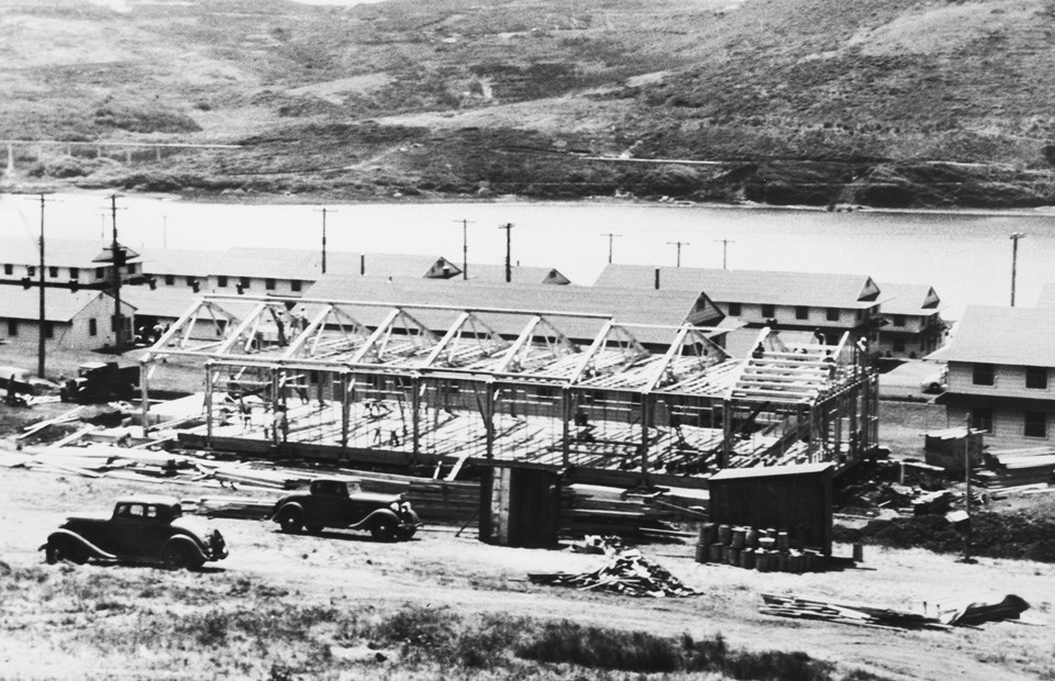 large wooden building under construction