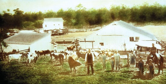 farming family standing with cows in front of barn and paddock