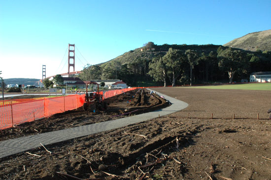 construction of a new sidewalk at the Fort Baker parade ground