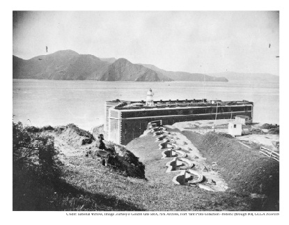 Fort Point shortly after its construction, looking north across Golden Gate Strait.