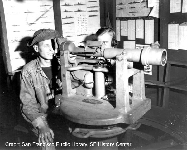 photo of soldiers looking through telescopes to determine target direction