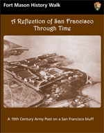 colored front cover of walking tour showing historic aerial of Fort Mason