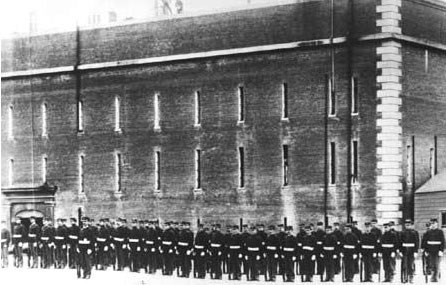 photo of Civil War troops at attention in front of Fort Point