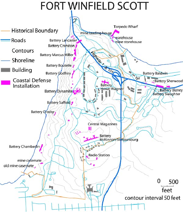 maps showing all of Fort Scott's associated batteries