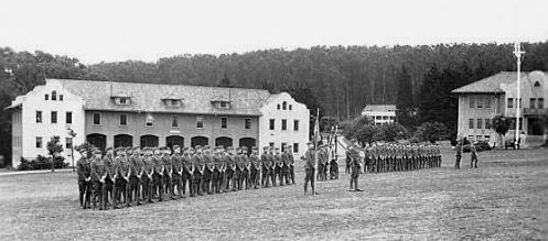 Troops in formation at Fort Scott's main parade ground.