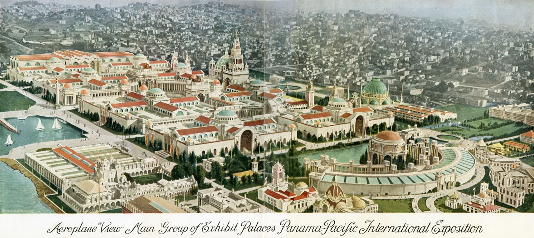 Colorized View of the Palaces from Aeroplane