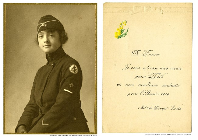 GOGA-1766 Mildred Lewis Collection Photograph Lewis in uniform and card