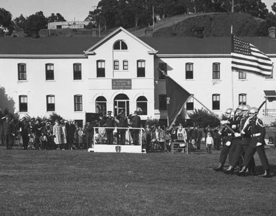 Military parade at Fort Baker
