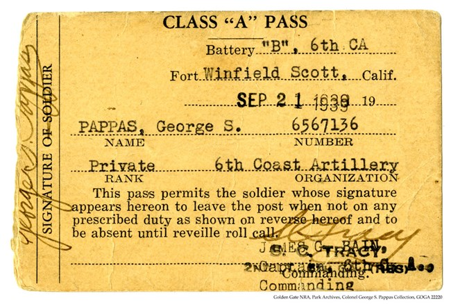 GOGA 22220 Colonel George S Pappas Collection FOSC Pass