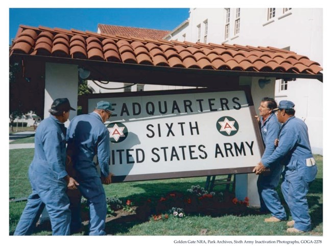 Removing Army Headquarters sign