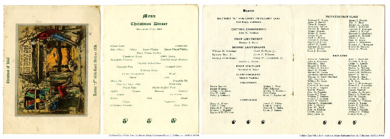 GOGA 35308 Ephraim Dyer Jr Collection 1940 Christmas Menu