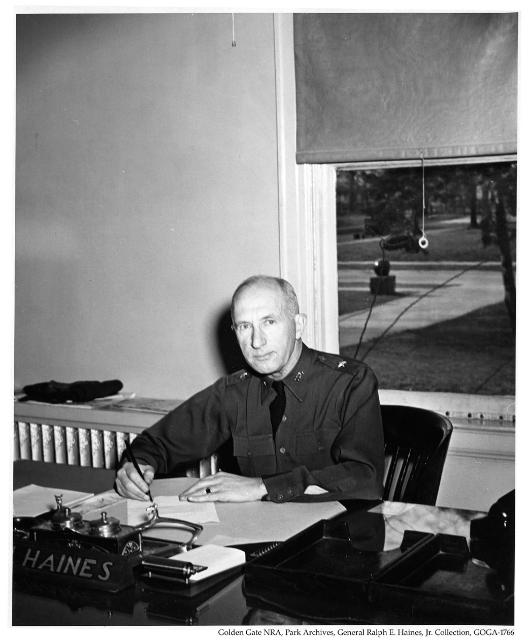 GOGA 35313.132 General Ralph E Haines Collection Photograph of General Haines at Desk on PSF