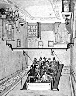 illustration of people sitted on suspended swing in upside down room