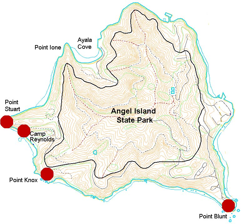 map showing military installations on Angel Island
