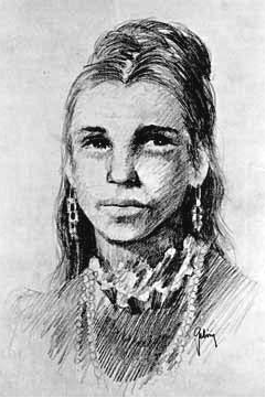Pencil sketch of a likeness of Juana Briones