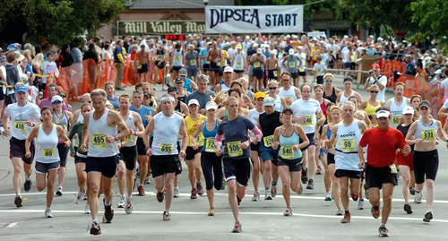 runners start the Dipsea Race