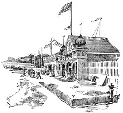 illustration of ornate wooden building with picket fence