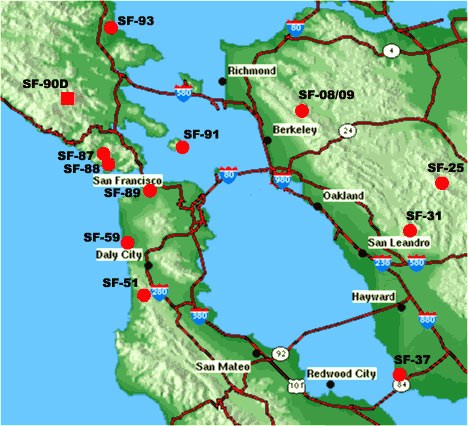map of all Nike missile sites in the Bay Area