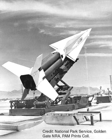 Photo of Nike missile on launch pad