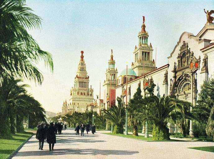 colored illustration of ornate buildings along decorated pathway