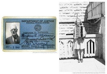 Prison ID card and teen girl with accordian