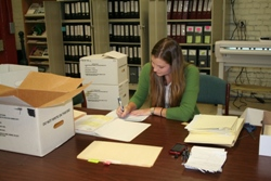 A patron researching Army Records at the Park Archives and Records Center.