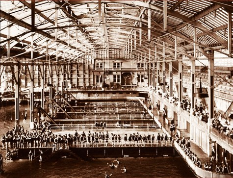 historic image of Sutro Baths interior