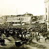 1862 Union demonstration in San Francisco with crowds and horse drawn carriages; photo courtesy of SFPL