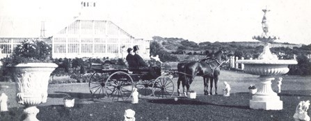historic image of vistors in horse-drawn carriage at Sutro Height