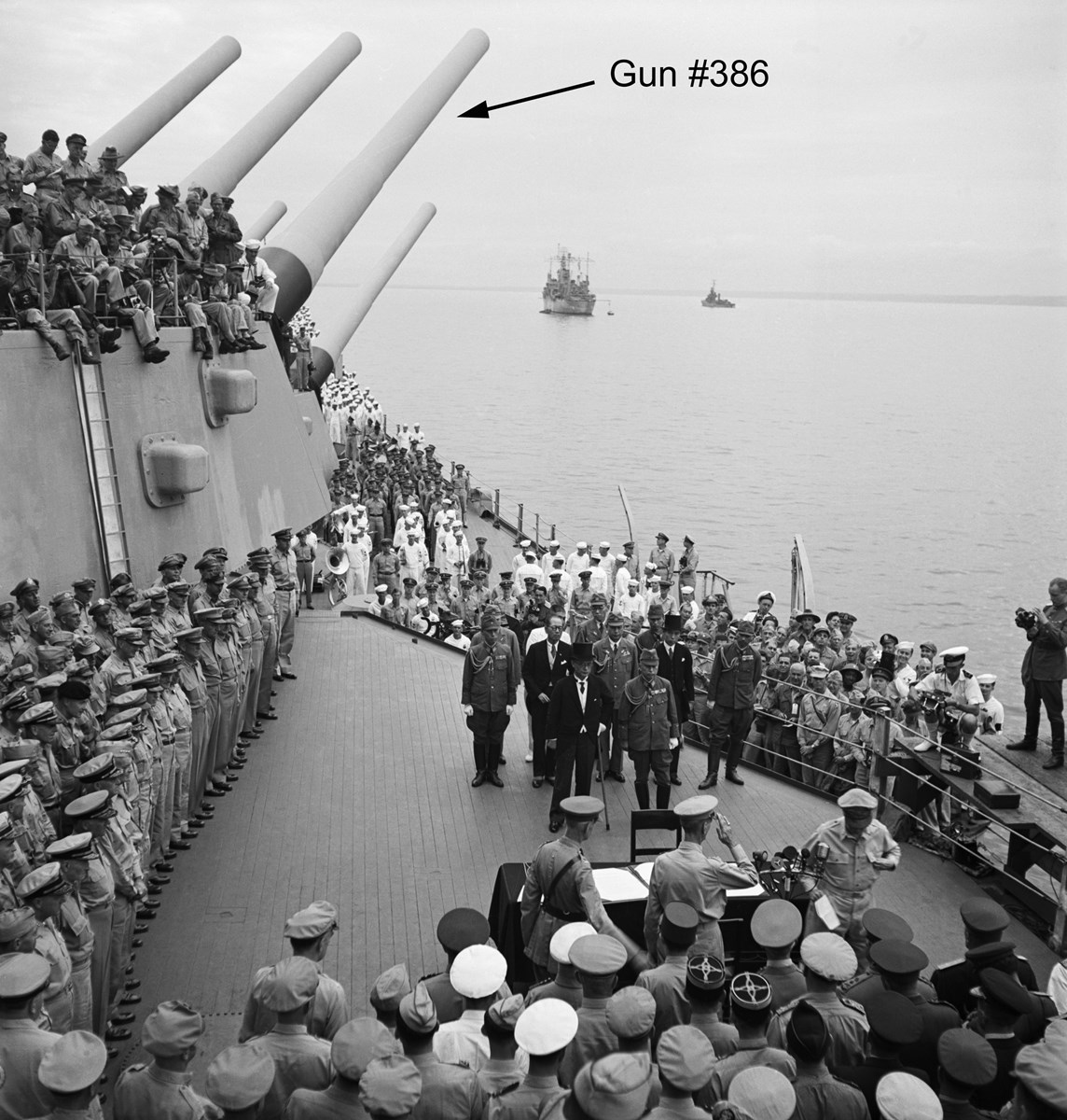 historic image of Japanese surrender on the USS Missouri, 1945