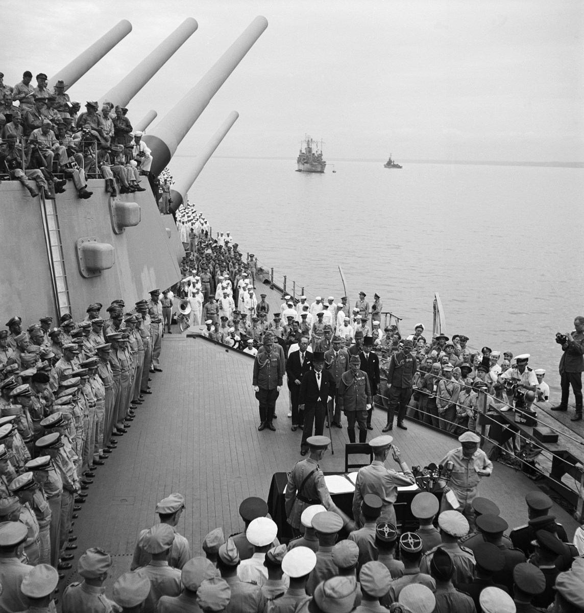 historic image of the Japanese surrender on the USS Missouri, 1945
