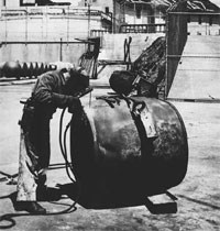 photo of Alcatraz prisoner working on antisubmarine buoy