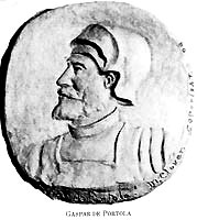 medallion showing Captain Gaspar de Portola