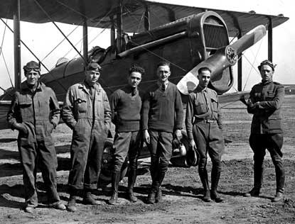 Crissy, at far right, with other fellow pilots, circa 1919.