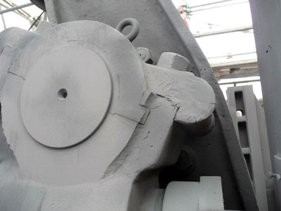 the gray prime coat of paint on the cannon