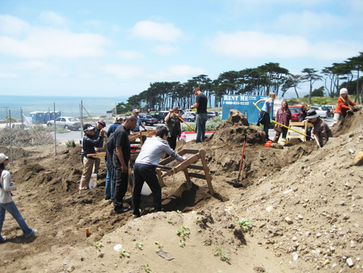 volunteers working on archeology site