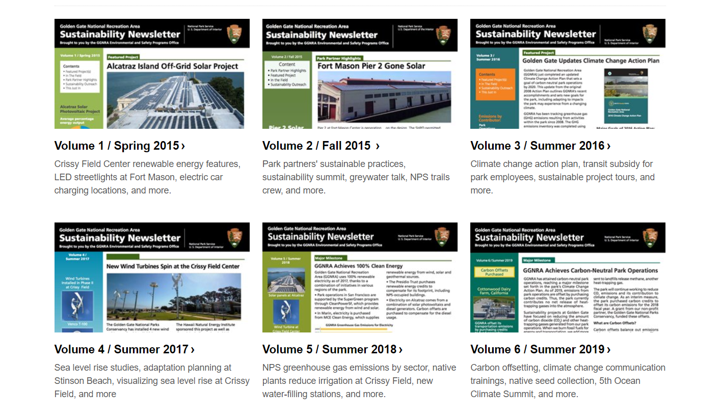 A screenshot of the sustainability newsletter webpage, with small images displaying all the newsletters.