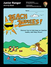 Cover image of the new Junior Ranger Beach Buddies Booklet, featuring Petey Plover.