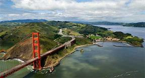 Aerial view of Golden Gate Bridge and Fort Baker.  Looking north.