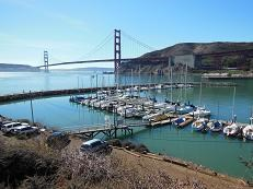 Photo looking at Ft. Baker Marina with Golden Gate Bridge in backdrop.