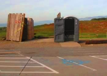 Old portable restrooms at Fort Funston.